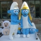 Mascot Costume Blue small woman and man