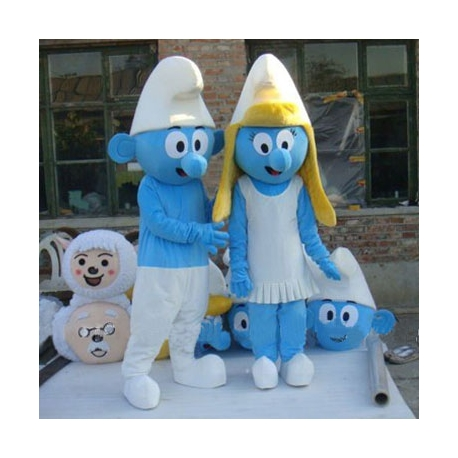 Mascot Costume Blue small woman and man